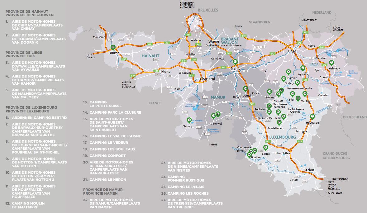 Carte Belgique Hamoir.Trois Sites Pour Camping Cars Dans La Province Rtc Tele Liege