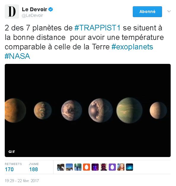 nasa tweet le devoir