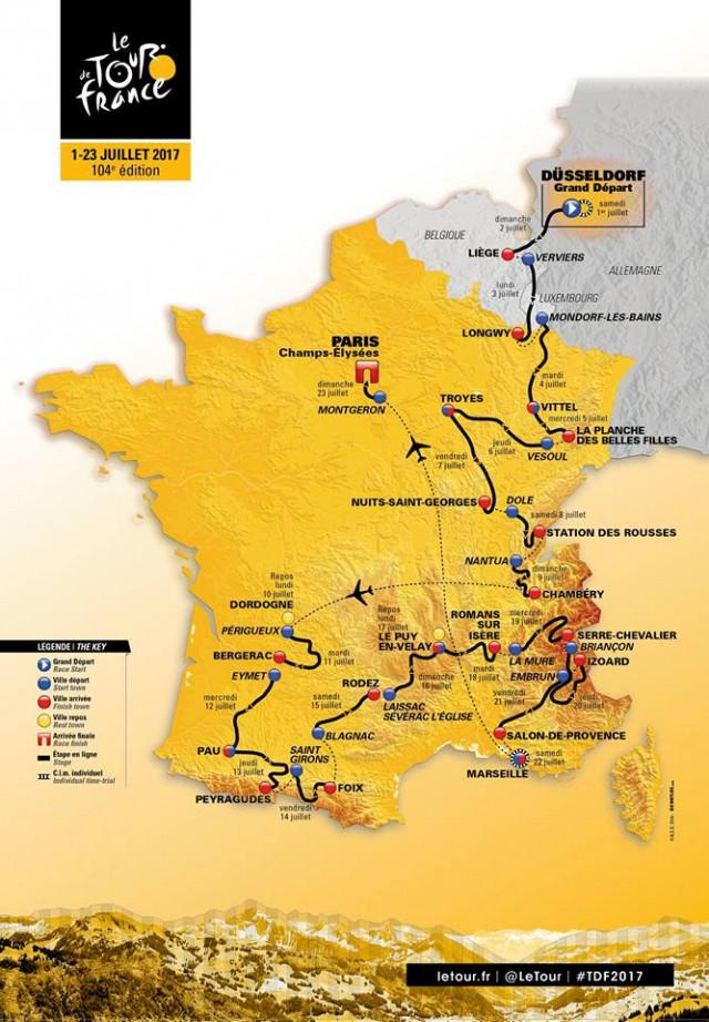 Le Tour 2017 : le parcours