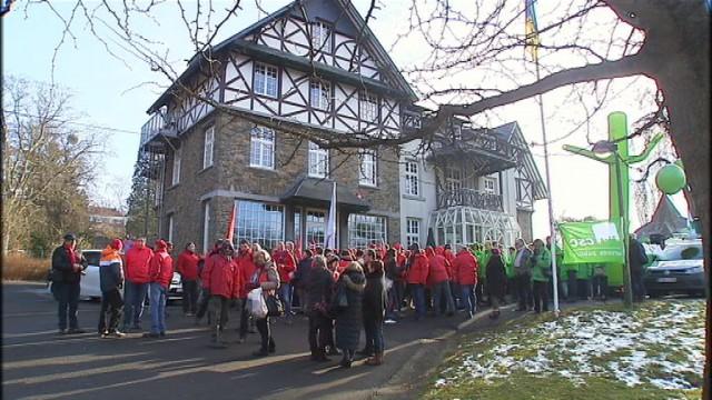 Action syndicale des travailleurs du service public à Chaudfontaine