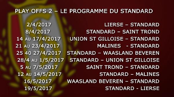 Play-offs 2 : le programme du Standard de Liège