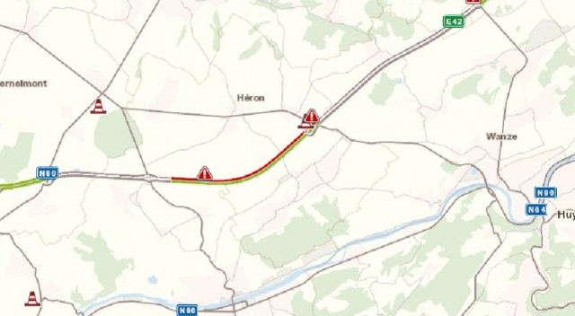 Accident sur la E42 à Héron