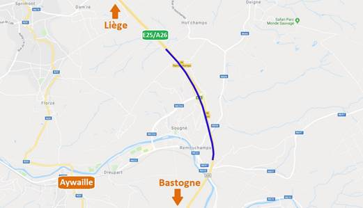 Aywaille : fermeture de la  sortie n°46 Remouchamps vers Liège