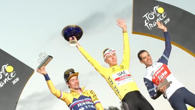 Le podium du Tour au départ de la Flèche Wallonne