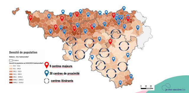 Les centres de vaccination dans la région liégeoise