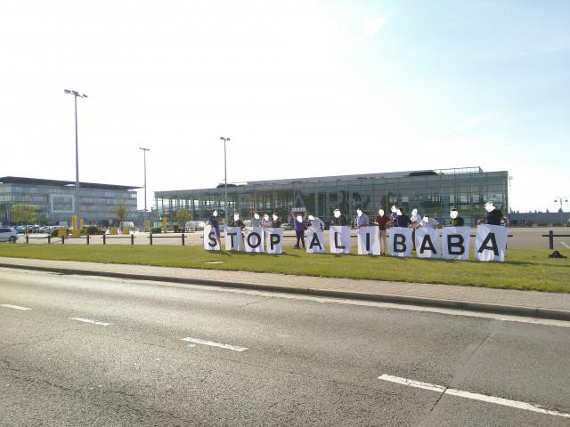 Action symbolique contre Alibaba devant l'aéroport de Bierset