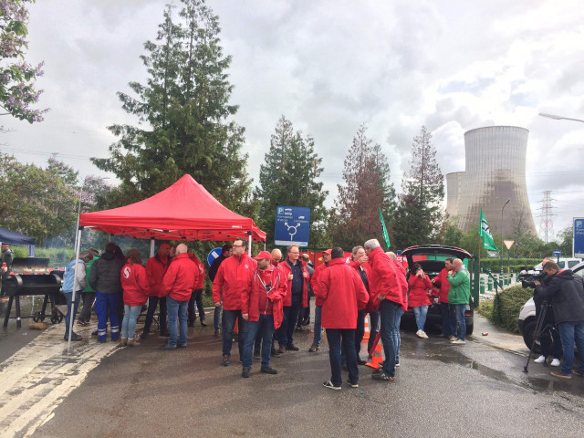 Action syndicale à la centre nucléaire de Tihange