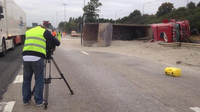 Les images de l'accident sur l'autouroute E40 à Hognoul