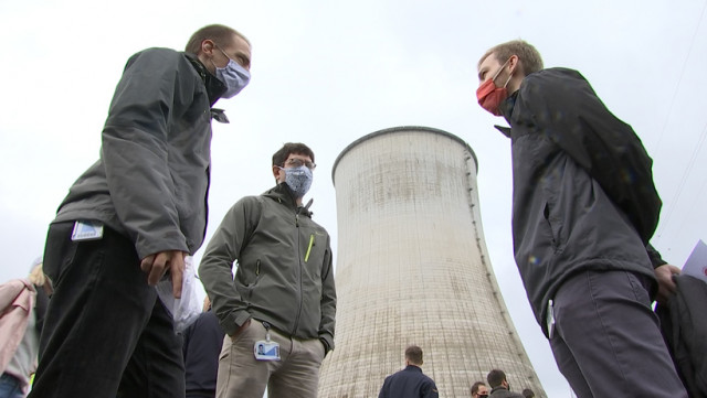 Manifestation contre la sortie du nucléaire à Tihange