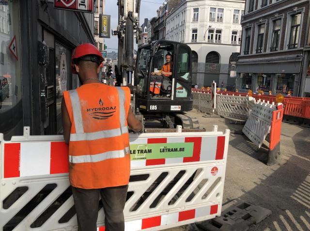 Quelques travaux sur le chantier du tram