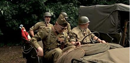 Reconstitution d'un camp militaire de la libération à Remicourt