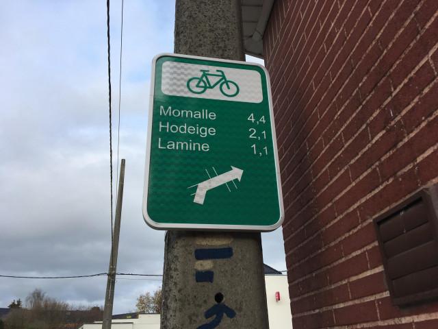 Remicourt : balisage spécifique pour les cyclistes