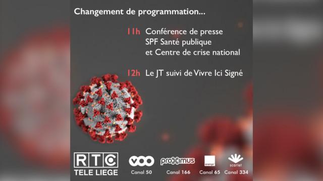"""Retransmission de la conférence de presse """"COVID-19"""" sur RTC dès ce jeudi"""