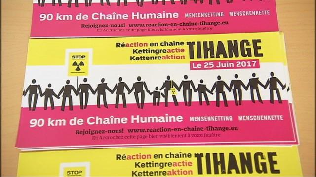 Une chaîne humaine anti-nucléaire entre Tihange et Aix-La-Chapelle